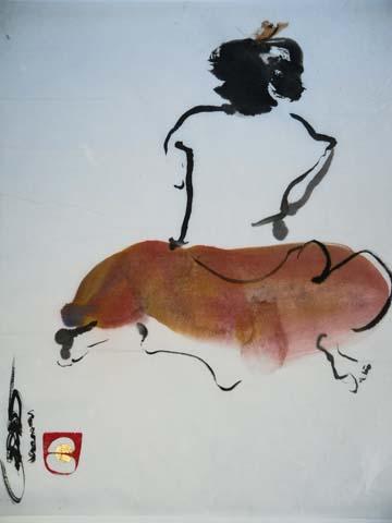 Fraai resultaat na werkweekend Sumi-e modelschilderen bij Beeldend Kunstenares Marie-José Leenders